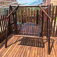 吊床户外秋千吊椅庭院碳化木室外家用实木双人荡秋千摇椅