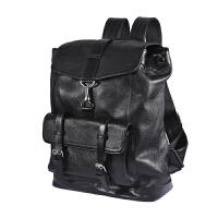 真皮双肩包韩版男士头层牛皮电脑包休闲旅行时尚潮流软皮学生背包 黑色