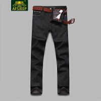 战地吉普(AFS JEEP)2017冬装新款男牛仔裤 加绒加厚保暖直筒宽松休闲男士牛仔长裤F6617加绒