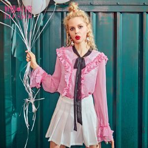 【6折价114元】妖精的口袋茉莉之花新款宽松上衣系带木耳边雪纺衫女