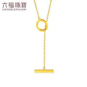 六福珠宝足金项链几何形黄金项链套链计价G08TBGN0009