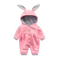 婴儿冬装新生儿外出抱衣服秋冬季男女宝宝加绒加厚保暖哈衣连体衣