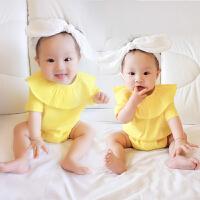 婴儿连体衣服宝宝新生儿季爬服01岁7个月春款短袖休闲睡衣
