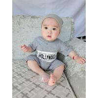 婴儿连体衣服宝宝新生儿季爬服01岁2个月春款短袖哈衣睡衣