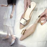 韩版百搭小清新女士拖鞋 新款chin风包头凉拖鞋女 时尚尖头高跟鞋细跟女