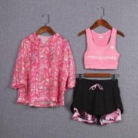 夏季女长袖短袖健身瑜伽服三件套装跑步运动背心罩衫速干透气宽松