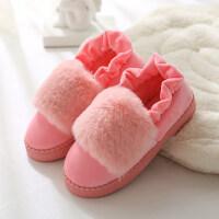 女包跟厚底室�溶�底地板居家居月子保暖防滑毛毛棉拖鞋情�H棉拖鞋