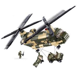【当当自营】小鲁班空军部队军事系列儿童益智拼装积木玩具 运输直升机M38-B0508