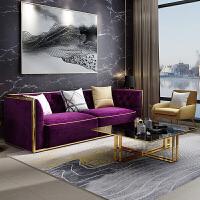 轻奢后现代客厅北欧布艺沙发双人三人位样板房美式真皮沙发组合 304不锈钢镀钛金(雪尼尔布料 联系客服确定颜色)