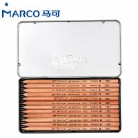 MARCO/马可 7001-12TN 12支绘图素描铅笔/3H-9B 12种全灰度原木杆素描笔初学者专业美术用品画材套