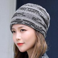 韩版潮保暖加厚防风包头月子帽堆堆帽男女士针织毛线帽子