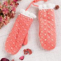 保暖防寒韩版毛线手套女加厚挂脖绳连指女生可爱手套女冬