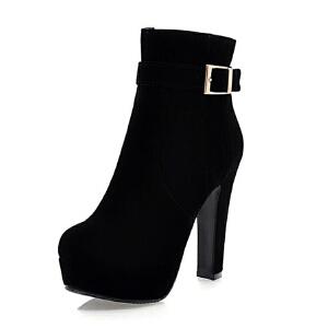 ELEISE美国艾蕾莎新品秋冬152-SX-13韩版磨砂绒面高跟粗跟女士女靴短靴