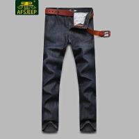 AFS JEEP战地吉普 2017冬装新款男牛仔裤 加绒加厚保暖直筒宽松休闲男士牛仔长裤LZ327C