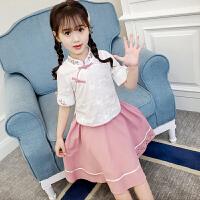汉服女童夏装短袖中国风儿童唐装改良古装夏季薄款连衣裙套装