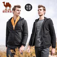 骆驼男装 秋冬款棉服棉袄青年韩版可拆卸帽双面穿棉衣外套男