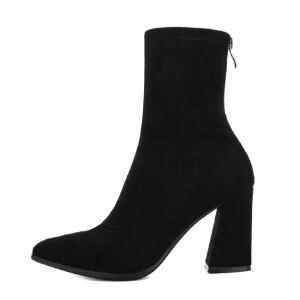 ELEISE美国艾蕾莎新品秋冬182-1608韩版磨砂绒面高跟粗跟女士袜靴