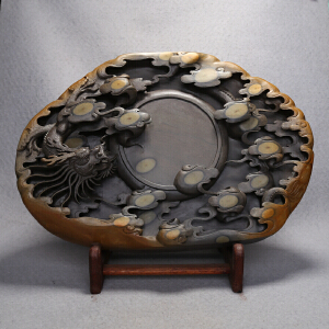 中国非物质文化遗产传承人群 钟景锐作品《腾龙盛世》砚 梅花坑 收藏
