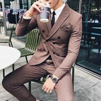 2018男士大码西服套装新郎礼服西装三件套韩版修身双排扣商务正装
