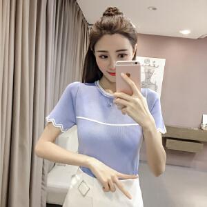 【班图诗妮】2018夏装韩版针织衫女短袖修身百搭打底衫时尚拼色拼接t恤衫