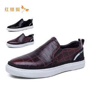 【专柜正品】红蜻蜓时尚格纹低跟舒适百搭男单鞋