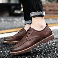 CUM 男鞋秋季潮鞋擦色复古英伦皮鞋男士板鞋潮流百搭青年休闲鞋子