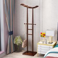 中式实木衣架落地卧室挂衣架省空间衣帽架创意小置物架挂衣服架子