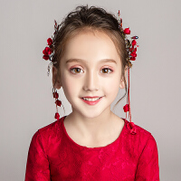 儿童花朵发饰头箍饰品花童婚纱发卡配饰女童红色演出礼服头饰发箍