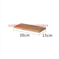 实木墙壁置物架一字隔板北欧定制搁板客餐厅墙上白橡木装饰架书架 30cm深15cm 配隐形螺丝