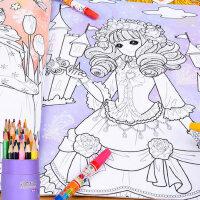 特大本公主换装涂色秀3-6-10岁女孩画画本儿童美少女涂色书绘画册