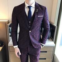 韩版时尚印花西服套装男士修身韩版正装新郎伴郎结婚礼服