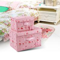 收纳盒樱桃系列防水覆膜可擦洗收纳两件套有盖折叠储物箱大号衣服整理箱儿童玩具无纺布 衣物有盖收纳盒