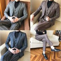 新款时尚绅士英伦西服套装男生韩版修身青年条纹西装三件套潮大码