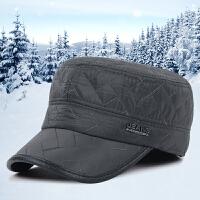 新款帽子冬季中老年人户外加厚保暖护耳帽男士休闲平顶帽