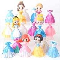 白雪公主美人鱼迷你公仔换衣小孩可过家家送女孩子玩具 6个人偶 18件衣服 高度8CM