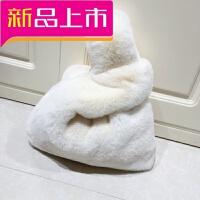 毛毛包包手提女包手拿包韩版新款仿獭濑兔毛网红皮草包背心包毛绒