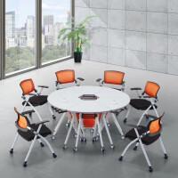 折叠会议桌长桌简约现代椭圆大型办公桌组合课桌椅学生培训桌双人