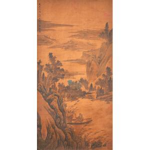 D1534吴镇《泛舟行旅图》(乾隆御览之宝,多位名家收藏章)
