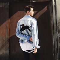 牛仔外套男春秋韩版潮流 修身帅气时尚贴布绣短款夹克衫