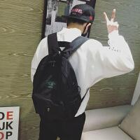 男生双肩包潮韩版中学生书包日韩时尚青少年电脑背包新款休闲旅行 黑色