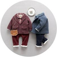 宝宝冬装套装2017新款男童西装潮1一3岁2小童棉衣4加绒加厚三件套