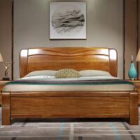 金丝胡桃木实木床1.8米现代简约主卧双人大床中式气压高箱储物床 +2床头柜 1800mm*2000mm 箱框结构