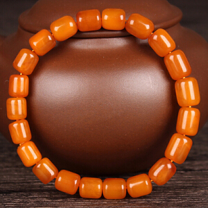 蜜蜡满蜡桶珠手串 直径8mm