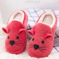 秋冬季子棉鞋 儿童棉拖鞋 女士包跟厚底男保暖月子鞋 冬天室内