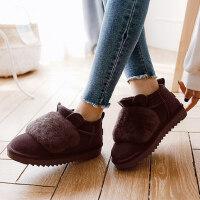 棉拖鞋女士包跟厚底室内保暖月子防滑居家卡通加绒毛棉鞋