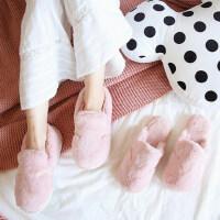 卡通情侣毛毛棉鞋男棉拖鞋女包跟冬季厚底可爱居家室内保暖月子鞋