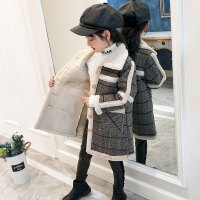 秋冬新款韩版中大儿童呢子加绒洋气时髦上衣女童外套毛呢大衣