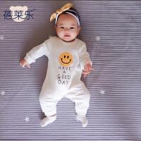 婴儿童连体衣服6个月1岁春季款长袖童宝宝哈衣新生儿爬服