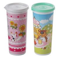 塑料防漏杯 密封杯 颜色随机 卡通水杯随手杯子小学生儿童水壶