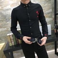 型男商务宴会礼服男士修身长袖衬衫刺绣夜场酒吧发型师工作服寸衣
